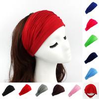accesorios para la banda de algodón al por mayor-Accesorios para el cabello con banda elástica de algodón de color sólido para las niñas de las niñas grandes para 10 colores diferentes VVA448