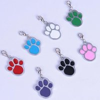 Wholesale lovely tags resale online - lovely High Quality dog paw Alloy Pet Dog Cat ID Card Tags Necklace ornaments Keychain