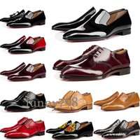 Wholesale men office leather shoes for sale - Group buy with box cowhide Red Bottoms Business shoes Luxury Party Wedding Chaussures habillées Genuine Leather Spikes Lace up CL Designs Shoes