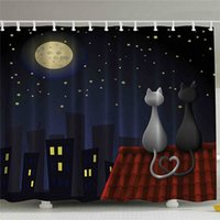 Wholesale bathroom decor for boys resale online - Animal Kids Bathroom Shower Curtain Baby Decor Cute Sweet Kitten Cats on Roof with Love Moonshine and Stars Girls Boys Fabric for Nursery