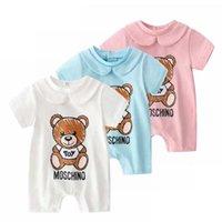 bebek yenidoğan tek parça toptan satış-Yaz pamuk rahat kısa kollu erkek ve kız bebek tek parça giysi sevimli yenidoğan bebek giysileri bebek tırmanma giysi