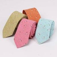 Wholesale mens skinny necktie resale online - New Fashion Groom Wedding Neck Ties Floral Printed Cotton Linen Tie For Mens Wedding Prom Evening Party Suits Skinny Grooms Necktie Cheap