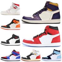 daim violet chaussures femmes achat en gros de-Haute qualité 1 1s chaussures de basket airJordanretro multicolore Court Violet PARIS SAINT ALLEMAND Baskets Athletic Sports Hommes