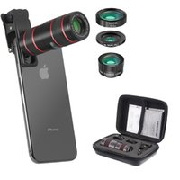 Wholesale 12x lens phones resale online - Phone Lens in Cell Phone Camera Lens Kits with X Telescope Lens Fisheye Lens Wide Angle Lens Macro Lens Compatible Phone and Tablets