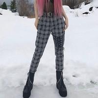 pantalones de lana blanca de invierno al por mayor-Lana Negro Blanco Plaid Delgado Mujeres Vendaje Pantalones de Cintura Alta Otoño Pantalones Largos para Mujer de Invierno Tablero de Chándal Gótico Pantalones