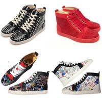 Wholesale wedding flat shoe yellow resale online - With Box Newest Version Red Black White Spike Leather Flat Bottoms Mens Womens Designer Boots Luxury Party Wedding Casual Outdoor Shoes