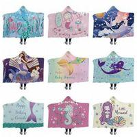 desenhos animados do hipocampo venda por atacado-Sereia Cobertor Sereia Com Capuz cobertores Hippocampus Dos Desenhos Animados Espessamento Quente Têxteis Para o Lar Toalhas de Praia Inverno Chapéu Cobertores GGA1481