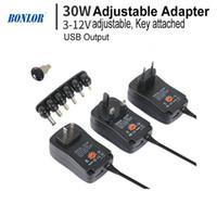 adaptador 5v para camara al por mayor-30W Adaptador de CA / CC Adaptador de corriente ajustable 3V 4.5V 5V 6V 7.5V 9V 12V 2A 2.5A Cargador universal de suministro de salida USB para cámara CCTV