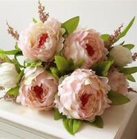 ingrosso fiori di mazzo di nozze-(7 teste / mazzo) Simulazione di seta artificiale Fiore di peonia Fiore artificiale Fiore di peonia Decorazione di nozze Bouquet da sposa a mano Pianta finta