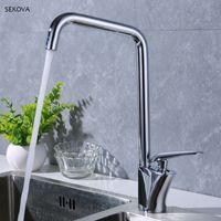 ingrosso miscelatore in ottone-Ottone cromato Hot And Cold Kitchen Sink Faucet Paint Handle Deck Mounted Mixer Rubinetto bianco / nero / cromato