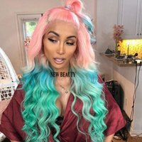 peluca llena de encaje verde al por mayor-2019 moda rosa ombre verde brasileño del pelo pelucas delanteras llenas del cordón sin cola Calor Resistente al calor Cosplay sintético pelucas para mujeres