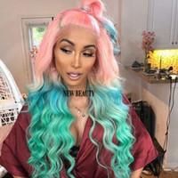 ingrosso parrucca verde profonda-2019 moda rosa ombre verde brasiliano capelli piena parrucche anteriori del merletto glueless resistente al calore onda profonda cosplay parrucche sintetiche per le donne
