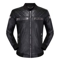 ingrosso patch in pelle ricamata-Cappotto da moto da uomo in pelle Piplan ricamato con lettere in metallo PU in pelle