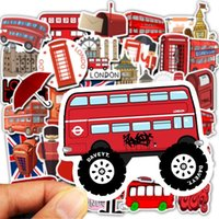 Wholesale red telephone booth for sale - Group buy 50pcs Set Waterproof London Red Bus Telephone Booth Pvc Stickers For Laptop Motorcycle Skateboard Luggage Decal Toy Sticker