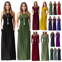 tüp üst yazlık elbiseler toptan satış-Katı Bohemian Maxi Elbise Yaz Bayanlar düz Plaj Bohemian Tüp Üst Sundress Elbise Vintage Cep Elbise elbise L-JJA2345 28styles