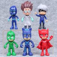 personagens de desenhos animados de ação venda por atacado-6 pçs / lote bebê dos desenhos animados jogar brinquedos pj máscaras com caixa mascarado homem pijama infantil pj máscara heróis personagens figura de ação brinquedos