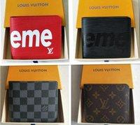 mejores bolsas de regalo de moda al por mayor-Los diseñadores de la marca mejor monedero con el bolso de la tarjeta de crédito de los hombres de lujo caja de regalo de las mujeres carpetas del embrague de accesorios de moda bolsas