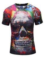 3d schädelkopfhemd großhandel-Neues Sommer 3D T-Shirt für den europäischen und amerikanischen Außenhandel im Jahr 2019 Herren Skull Head Brille gedruckt Komfortable Rundhals Top