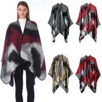casacos de malha de caxemira xales venda por atacado-Lady Moda Poncho Plaid mulheres Vintage do envoltório do lenço da malha Cashmere Lenços menina de cabo do inverno casaco de lã Cobertores Manto Xaile TTA1817