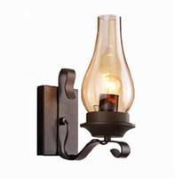 antika endüstriyel ışıklar toptan satış-Amerikan endüstriyel rüzgar antika gazyağı duvar lambası retro kişilik basit yaratıcı restoran koridor duvar aydınlatma - M41