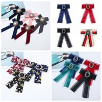Wholesale girls bowties resale online - Weaving Bowties Lace Edge Necktie Ribbon Rhinestone Girls Student Leisure Fashion Long Multi Style Colors mt F1