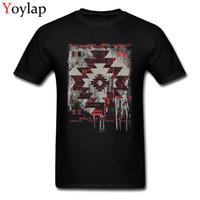 motif t-shirt moderne achat en gros de-Aztèque moderne motif géométrique hommes de conception T-shirts Rue Hauts Mode T-shirt pour les hommes Aménagée les vêtements en coton