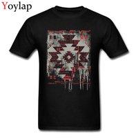 teste padrão moderno da camisa de t venda por atacado-Aztec modernos padrão geométrico Design Os homens camisetas Street Fashion Tops T-shirt por Homem cabidos roupas de algodão
