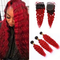 Wholesale dark red hair weave for sale - Deep Wave Curly Ombre Red Human Hair Closure and Bundles Dark Roots Red Ombre Virgin Peruvian Hair Weaves with Lace Closure