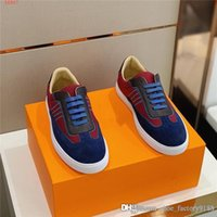 Wholesale mens leisure sports shoes resale online - The latest mens Color matching low top sports shoes white rubber light flat sole leisure running shoes With box size