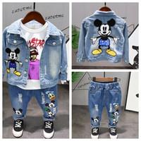 erkek kot giyim çocuklar toptan satış-İlkbahar sonbahar Çocuk boys giyim seti Erkek bebek giysileri moda yürüyor bebek giyim Denim ceket + + t gömlek + kot boys 3 adet set