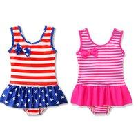 usa sportkleidung großhandel-Mädchen Badeanzug, Einteiler, Streifen, Ärmellos, Flaggenbadeanzug, Sportbekleidung, Amerikanische Flagge, Independence National Day, USA, 4. Juli, Swim