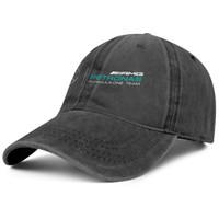 ingrosso annata di donne del cappello nero-Mercedes AMG petrons Logo nero per uomo e donna Denim Cap trucker cappellino stile palla cappelli vintage firmati Black