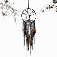 schwarze glockenspiele großhandel-Traumfänger 20cm Ø Schwarzer Baum des Lebens Dreamcatcher Feather Tassels Wind Chimes Wandbehang Anhänger Home Decoration