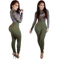 kadınlar için yeşil tulumlar toptan satış-Bodysuit Kadın Tulum Kıyafetler Seksi Tulumlar Tulum Uzun Kollu Kollu Siyah Yeşil Sıska Tulum Boyutu S-XL