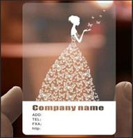 ingrosso angoli di plastica-biglietti da visita personalizzati che stampano la carta di nome di visita di plastica trasparente del PVC, angoli arrotondati glassati di colore pieno Trasporto libero