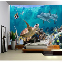 Wholesale large floral painting resale online - Large Wallpaper for Living Room Sea Turtle Dolphin Coral Creature Wall Painting Photography Background Europe Mural Home Decor