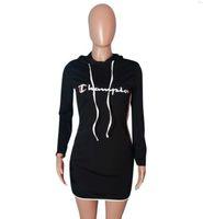 ingrosso abito nero per le grandi donne-Vestito estivo da donna Big C Printed Skinny Dresses Designer Black Dress With Hood Abbigliamento moda donna