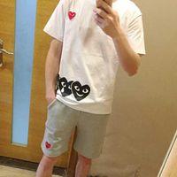 tops shirt simple venda por atacado-Marca esportes T-shirt dos homens tees amor coração-a-coração impressão de manga curta casal simples moda selvagem em torno do pescoço topos