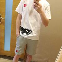 erkekler için yuvarlak boyun gömlek toptan satış-Marka spor T-Shirt erkek tees aşk kalp-kalp baskı kısa kollu çift basit moda vahşi yuvarlak boyun tops