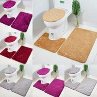 tapetes de banheiro azul venda por atacado-3 Peça Terno Tapetes Banheiro conjunto Tridimensional Em Relevo Rosa Cor Shell Tapete Super Macio Anti Slip Piso Tapete 23rbE1