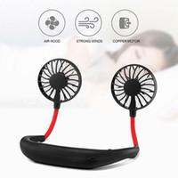 china usb fans großhandel-Mode Freisprecheinrichtung Sport Nackenband Fan Freisprecheinrichtung Hängen USB Wiederaufladbare Dual Fan Mini Luftkühler Sommer Tragbare Reise auto lüfter