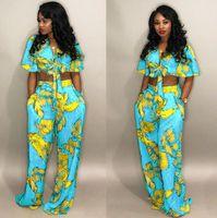 tenues sexy d'arcs achat en gros de-Sexy Two Piece Set Femmes tenues Bow Tie Tops + Pantalons à jambes larges Costumes Vêtements décontractés Floral Print Matching Sets