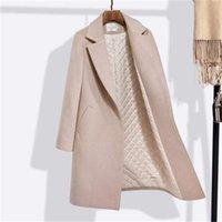 422d755e724b0 Moda kadın yün ceket kadın uzun bölüm yeni kış kalın yün ceket profesyonel  düz Vahşi MS giymek