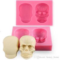kafatası keki toptan satış-3D Silikon Kafatası Fondan Kek Kalıpları Kafatası Şekil Dekor DIY Kalıp Pişirme Araçları Için Embosser