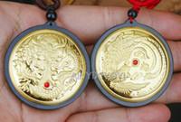 chinesische jade drachen anhänger großhandel-Charming Natural Black Green Hetian Jade + Echtgold Chinese Dragon Phoenix Glück Anhänger Halskette Zertifikat Edlen Schmuck