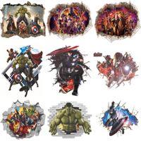 kinder wandbilder großhandel-3D Wandaufkleber Steuern Wanddekor Avengers Aufkleber für Kinderzimmer Schlafzimmer Dekoration Marvel Poster Tapete Wandtattoos