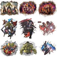 calcomanías de los vengadores al por mayor-Pegatinas de pared 3D Decoración de la pared del hogar Avengers Pegatinas para la habitación de los niños Decoración del dormitorio Marvel Poster Mural Wallpaper Wall Decals