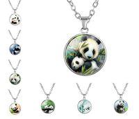 sevimli anime panda toptan satış-10 ADET Anime Tarzı Sevimli Panda Cam Kolye Chocker Kolye Kadın Panda Bambu Hayvan Çocuk ve kız hediyeler Takı