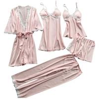 seide plus größe nachthemd großhandel-Womens Plus Size Sommer Faux Silk 5 Stück Pyjamas Set häkeln Floral Lace Applique Trim Nachtwäsche einfarbig Nachthemd Babydoll