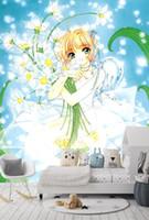 mural sakura оптовых-[Самоклеящиеся] 3D Cardcaptor Sakura 22326 Япония Аниме Обои Росписи Стены Печать Наклейка Фрески